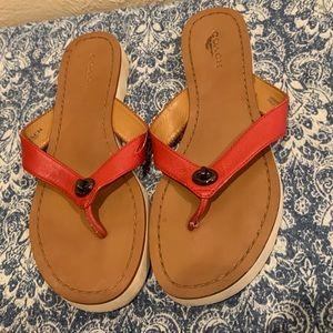 Coach Red Flip Flop Shelly Sandals Women's
